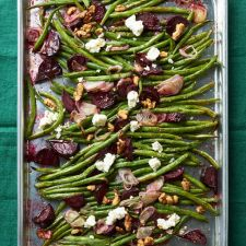Roasted Green Beans with Beets, Feta and Walnuts