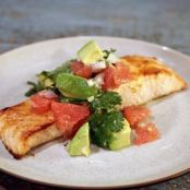 Easy Broiled Salmon with Avocado Grapefruit Salsa