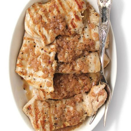 Grilled Turkey Breast with Caramelized Onion, Black Pepper & Vinegar