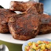 Spicy Pork Chops with Mango-Lime Salsa