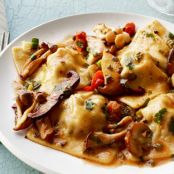 Pasta: Bacon Ravioli With Mushrooms