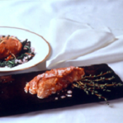 Roasted Salmon with Red Onion and Apple Puree Crust with Ginger-Cider Reduction
