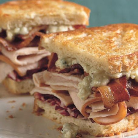 Grilled Turkey, Bacon, Radicchio & Blue Cheese Sandwiches