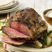Prime Rib with Dijon & Whipped Horseradish Cream