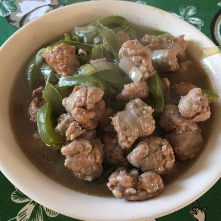 Nanny's Sausage and Peppers in Mushroom Gravy