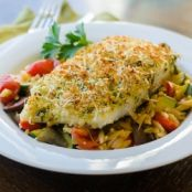 Parmesan Crusted Halibut (Orzo with Tomatoes & Zucchini)
