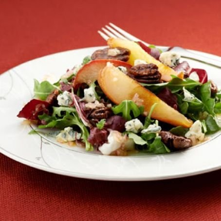 Roasted Pear Salad with Gorgonzola and Maple-Balsamic Dressing