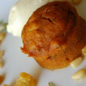 Pumpkin Cake with Toasted Pine Nuts and Olive Oil Gelato