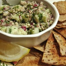 Cucumber Feta Salsa with Pita Crisps