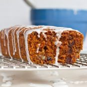 Vegan Whole-Grain Carrot Cake Loaf with Lemon Glaze