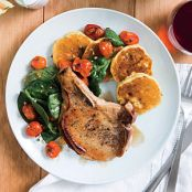 Honey-Glazed Pork Chops + Tomato Salad + Corn Cakes