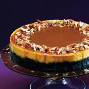 Pumpkin-Orange Cheesecake with Chocolate Crust & Salted Caramel