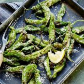 blistered shishito peppers with Browned Butter, Lemon and Parmesan