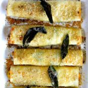 Butternut Squash Cannelloni with Ricotta and Kale in Lemon Sage Brown Butter Sauce