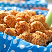 Baked Buffalo Popcorn Chicken with Creamy Honey Buffalo Dip