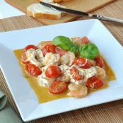 Shrimp Saute with Pesto, Mozzarella, and Grape Tomatoes