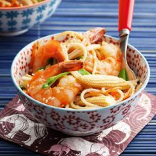 Stir-Fried Brown Rice Noodles with Shrimp - Dairy Free