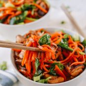 Stir Fried Chicken with Carrots and Spinach