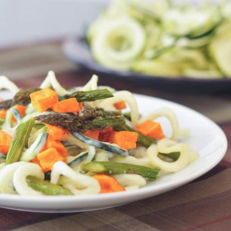roasted sweet potato and asparagus pasta