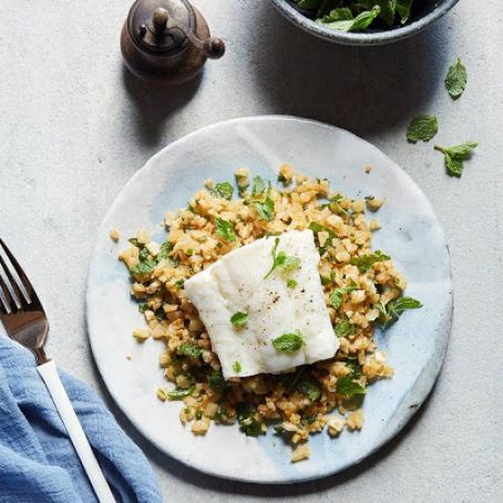 Olive Oil-Poached Cod with Cauliflower Couscous