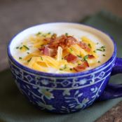 Creamy Potato Soup with Sour Cream, Bacon and Chives
