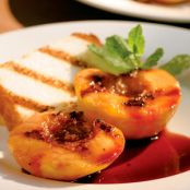 Toasted Angel Food with Peaches and Ice Cream