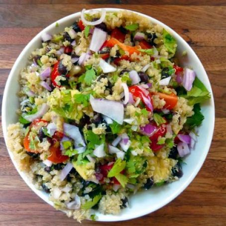 Quinoa Salad with Black Beans, Avocado and Cumin-Lime Dressing