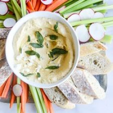 Pumpkin Goat Cheese Dip with Crispy Sage