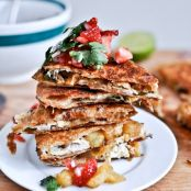 Caramelized Pineapple and Chicken Quesadillas with Spicy Strawberry Salsa