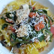 Tomato Lemon Chicken over Spaghetti Squash