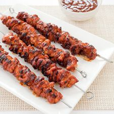 Charcoal-Grilled Barbecued Chicken Kebabs