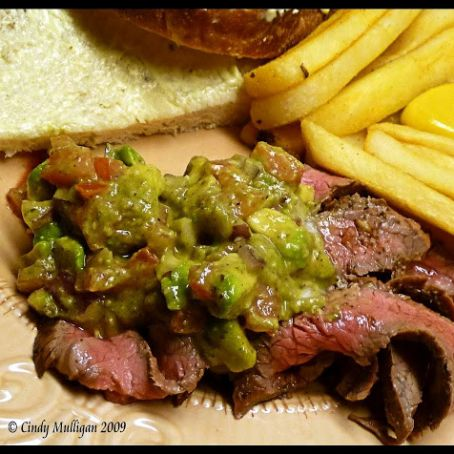 Cuban Flank Steak with Avocado and Tomato Salad