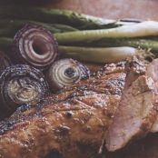 MOLASSES RUM GRILLED PORK TENDERLOIN WITH GRILLED GREEN AND RED ONIONS