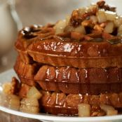 Gingerbread Waffles with a Pear-Walnut Compote