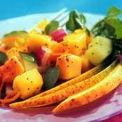 Mango, Papaya, Cucumber and Red Onion Salad
