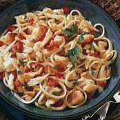Garlicky Linguine with Crab, Red Bell Pepper and Pine Nuts
