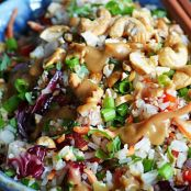 Thai Cashew Coconut Rice with Ginger Peanut Sauce