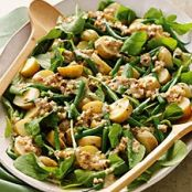 Mixed greens, potato and green bean salad with walnut dressing
