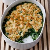 Baby Spinach & Garlic Bread Pudding