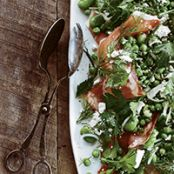 Green Pea and Fava Bean Salad with Sliced Speck
