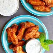 Crispy Baked Moroccan Chicken Wings with Yogurt Dip