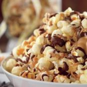 Chocolate & Peanut Butter Drizzled Party Popcorn