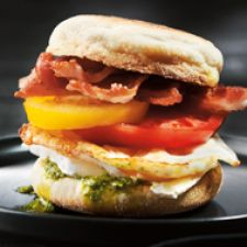 Breakfast Egg, Crispy Bacon, Heirloom Tomatoes & Brie on Toasted English Muffins