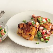 Spicy Chicken Thighs with Rhubarb Cucumber Salsa