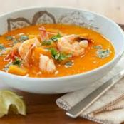 Coconut Curry Lentil Soup with Spicy Shrimp