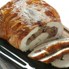 Turkey Breast Stuffed with Italian Sausage & Marsala-Steeped Cranberries