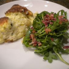 CHEESE SOUFFLE WITH BACON ARUGULA SALAD
