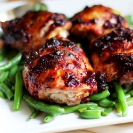 Cherry-Jalapeno Barbeque Sauce Roasted Chicken Thighs
