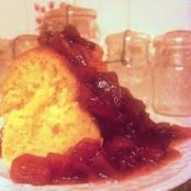 Mock Angel Food Cake with Peach Raspberry Lavender Jam