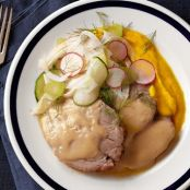 Buttermilk Braised Pork Shoulder With Carrot Purée & Shaved Fennel, Radish & Cucumber